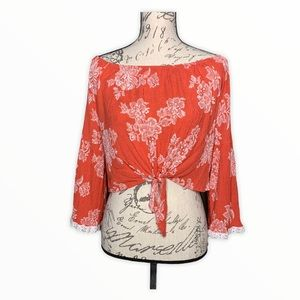 Anna Grace Cropped Bell Sleeve Front Tie Blouse